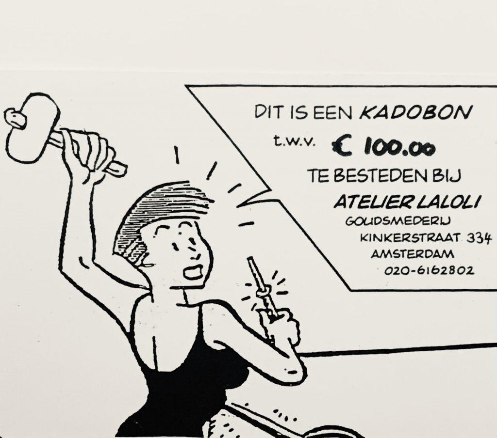 Foto van een kadobon van Laloli sieraden met een bedrag van 100 euro.